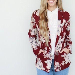 wine floral blazer